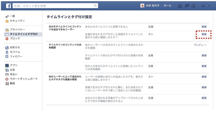Facebook タグ付け